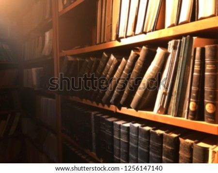 Library and books blur background