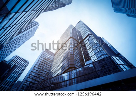 Commercial buildings in Hongkong are low angle, China, #1256196442