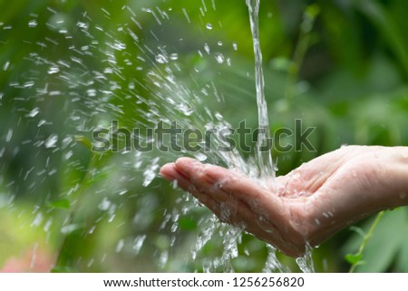 closeup water flowing to hand of women for nature concept in the garden background. #1256256820