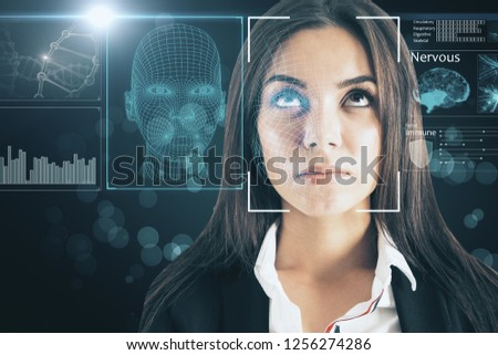 Portrait of attractive young european businesswoman with abstract face interface on blurry background. Biometrics and access concept. Double exposure  #1256274286