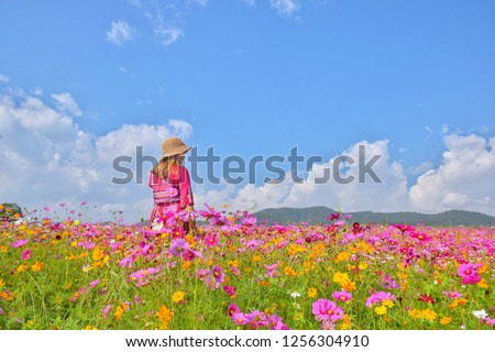 Asian girl wearing red dress wearing a cheerful hat standing in a colorful cosmos field With sky and white clouds, Singha Park, Chiang Rai, Thailand #1256304910