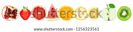 Collection of fruit slices isolated on white background. Fresh food #1256323561