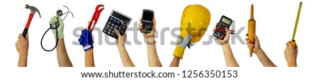 workforce - various profession workers with work tools in hands Royalty-Free Stock Photo #1256350153