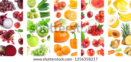 Background of mixed of color fruits and vegetables. Collage of fresh ripe food #1256358217