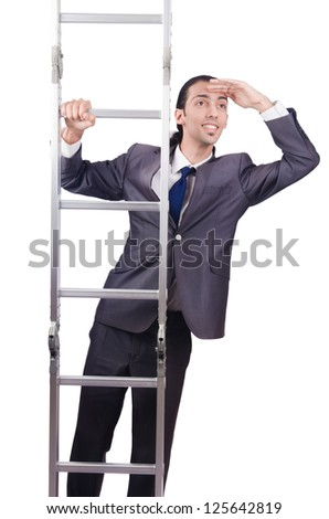 Businessman climbing the ladder isolated on white #125642819