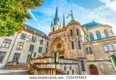Notre Dame de Luxembourg Cathedral is a Roman Catholic cathedral in the southern part of Luxembourg. Luxembourg. Luxembourg.  #1256459863