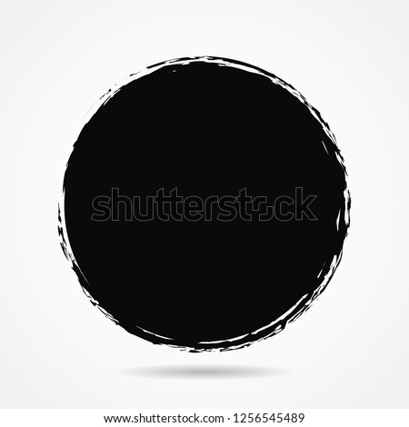 Vector grunge circle, grunge round shape, grunge banner - Color circle brush stroke with black color isolated on white background, Vector Illustration eps 10  #1256545489