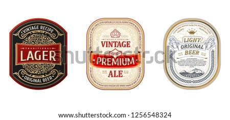 Set of Vintage frames for labels. Gold stickers and logos. Design emblems, premium quality. Vector stickers for drinks beer bottles and cans. Template place for text. Flourishes advertising banner #1256548324