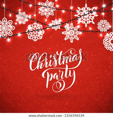 Merry Christmas party poster with hand-drawn lettering. Design template for Xmas party.  #1256596534