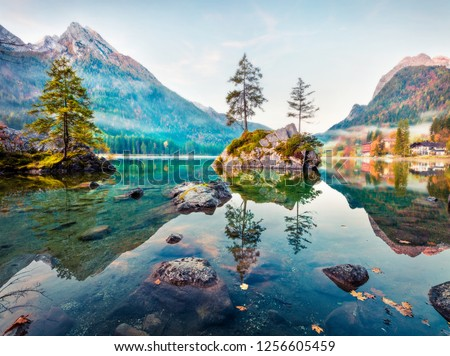 Dreamy autumn scene of Hintersee lake. Romantic morning view of Bavarian Alps on the Austrian border, Germany, Europe. Beauty of nature concept background. Orton Effect.