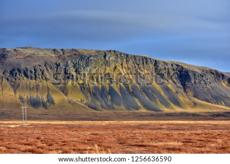 mountain range on grundarfjordur fjord in iceland  #1256636590