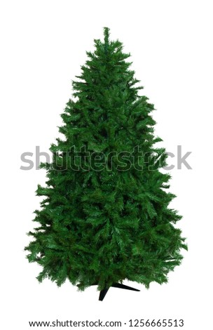 Cut out of bare artificial christmas tree isolated on white background #1256665513