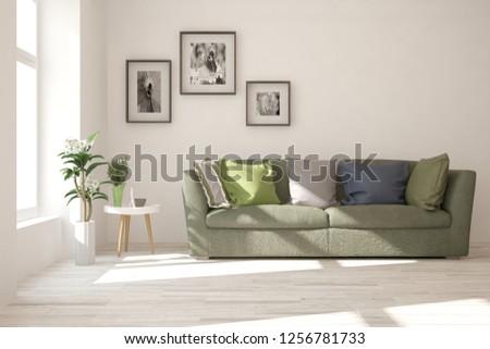 White modern room with sofa. Scandinavian interior design. 3D illustration #1256781733