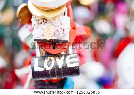 Love romantic padlocks,  wedding padlocks, love locks #1256926855