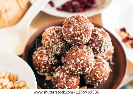 Oat balls, oat dates energy balls, selective focus #1256969536