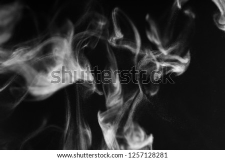 Isolated white smoke overlay effect on solid super black background. Nature motion smoky steam wave abstract environment pollution, cloud, cigarette, gas, dry ice, chemistry, factory and ghost concept #1257128281