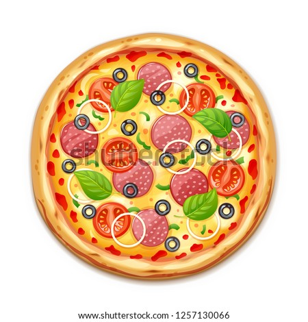 Fresh pizza with tomato, cheese, olive, sausage, onion, basil. Traditional italian fast food. Top view meal. European snack. Isolated white background. EPS10 vector illustration. #1257130066