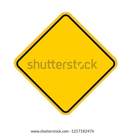 Blank Square Warning Sign. Vector illustration. on white background #1257182476