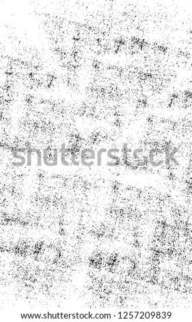 Dark Paint Weathered Texture. Abstract Dirty Creative Design Backdrop Element. Black And White Distressed Grunge Vector Overlay Template.  #1257209839