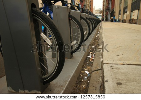 Oct 8th 2018. Manhattan. New York. Close up Public bikes available for rent by commenters, provided by Citibank. #1257315850