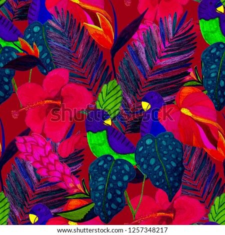 Summer exotic seamless pattern. Floral background with tropical leaves, flowers and birds. Hand drawn texture. Surface design.  #1257348217