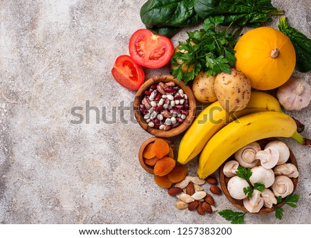 Products containing potassium. Healthy food concept. Space for text, top view #1257383200