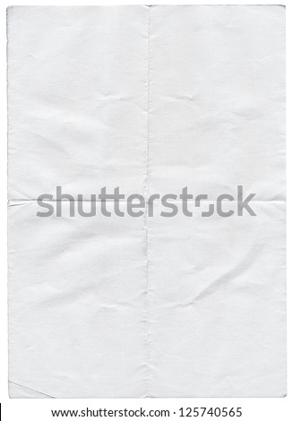 Isolated old white folded torn paper. Royalty-Free Stock Photo #125740565