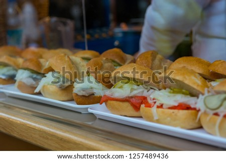 Tasty and healthy sandvich sold at take away stand. #1257489436