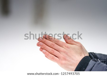 Hands in cold , winter , bad weather #1257493705