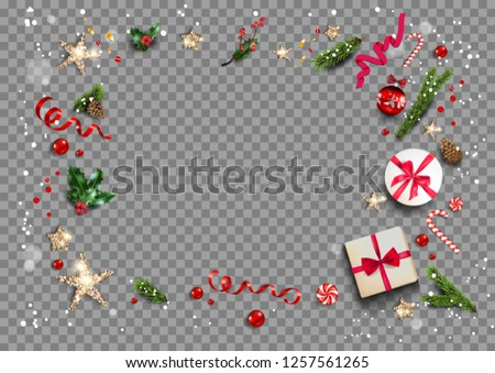 Holiday card with festive card and decorations balls, stars, snowflakes on transparent background. Christmas festive template. #1257561265