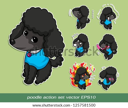 poodle action set vector EPS10