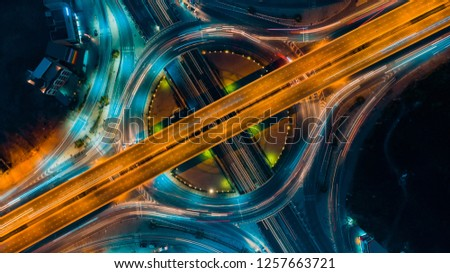Expressway top view, Road traffic an important infrastructure in Thailand #1257663721