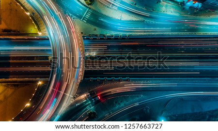 Expressway top view, Road traffic an important infrastructure in Thailand Royalty-Free Stock Photo #1257663727