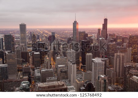 Chicago Skyline from the Signature Lounge in the Hancock Building
