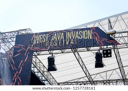 Bandung, Indonesia - 07th 06 2015: Sound System Set on a Stage for a Music Concert #1257728161