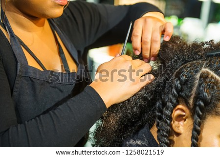 Close up african hairstylist braided hair of afro american female client in the barber salon. Black healthy hair culture and Style. Stylish therapy professional care concept. Selective focus Royalty-Free Stock Photo #1258021519