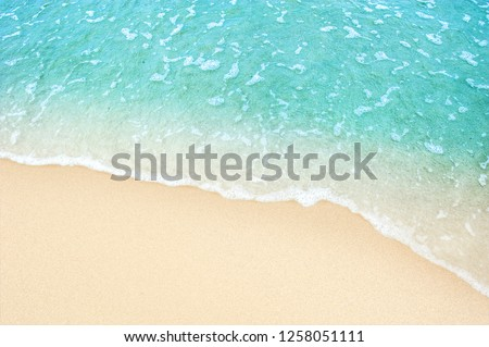 Soft blue ocean wave on clean sandy beach #1258051111