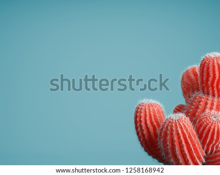 Living Coral color of the Year 2019. Background with cactus in trendy color #1258168942