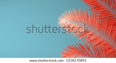 Living Coral color of the Year 2019. Background with palm in trendy color #1258170892