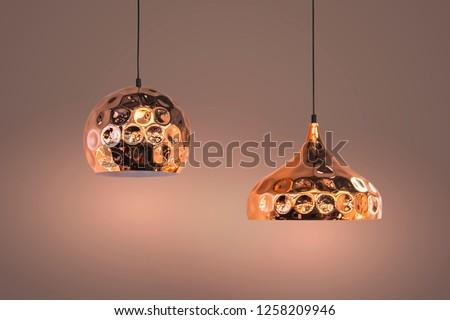 Modern streamlined mirror copper chandelier. Bubble metal copper shade pendant. #1258209946