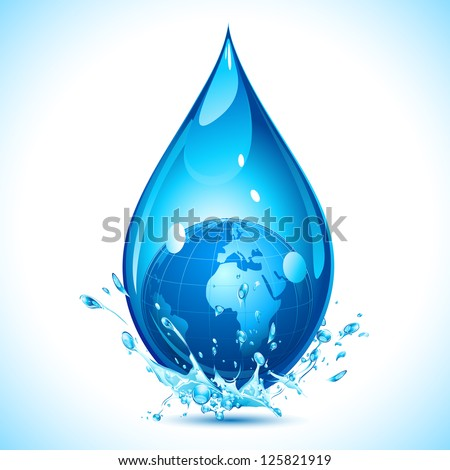 illustration of globe inside water drop on abstract background #125821919