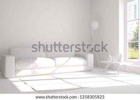 White room with sofa. Scandinavian interior design. 3D illustration #1258305823