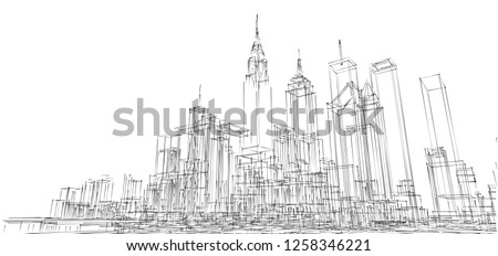 cityscape, 3d illustration #1258346221