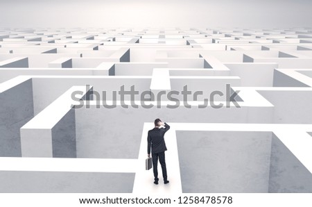 Small businessman in a middle of a huge maze #1258478578