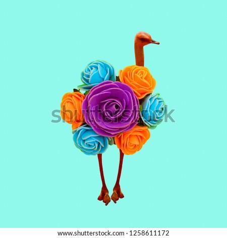 Minimal Contemporary collage art. Ostrich Rose. Visual fun art #1258611172