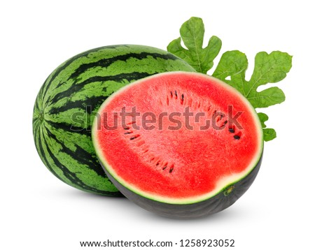whole and half watermelon with green leaves isolated on white background #1258923052