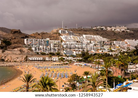 Landscape in Tropical Volcanic Canary Islands Spain Royalty-Free Stock Photo #1258943527