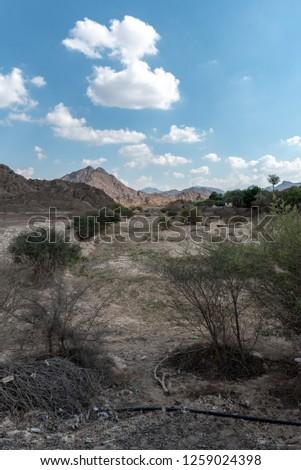 United Arab Emirates mountains view form Wadi Al Qor to Buraq Dam highest place around 800 meters #1259024398
