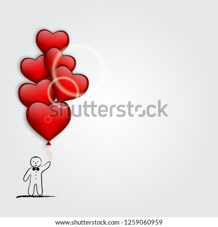 boy with heart shaped balloon. Valentine's Day card. Vector illustration #1259060959