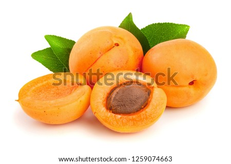 Apricot fruits with leaves isolated on white background macro #1259074663